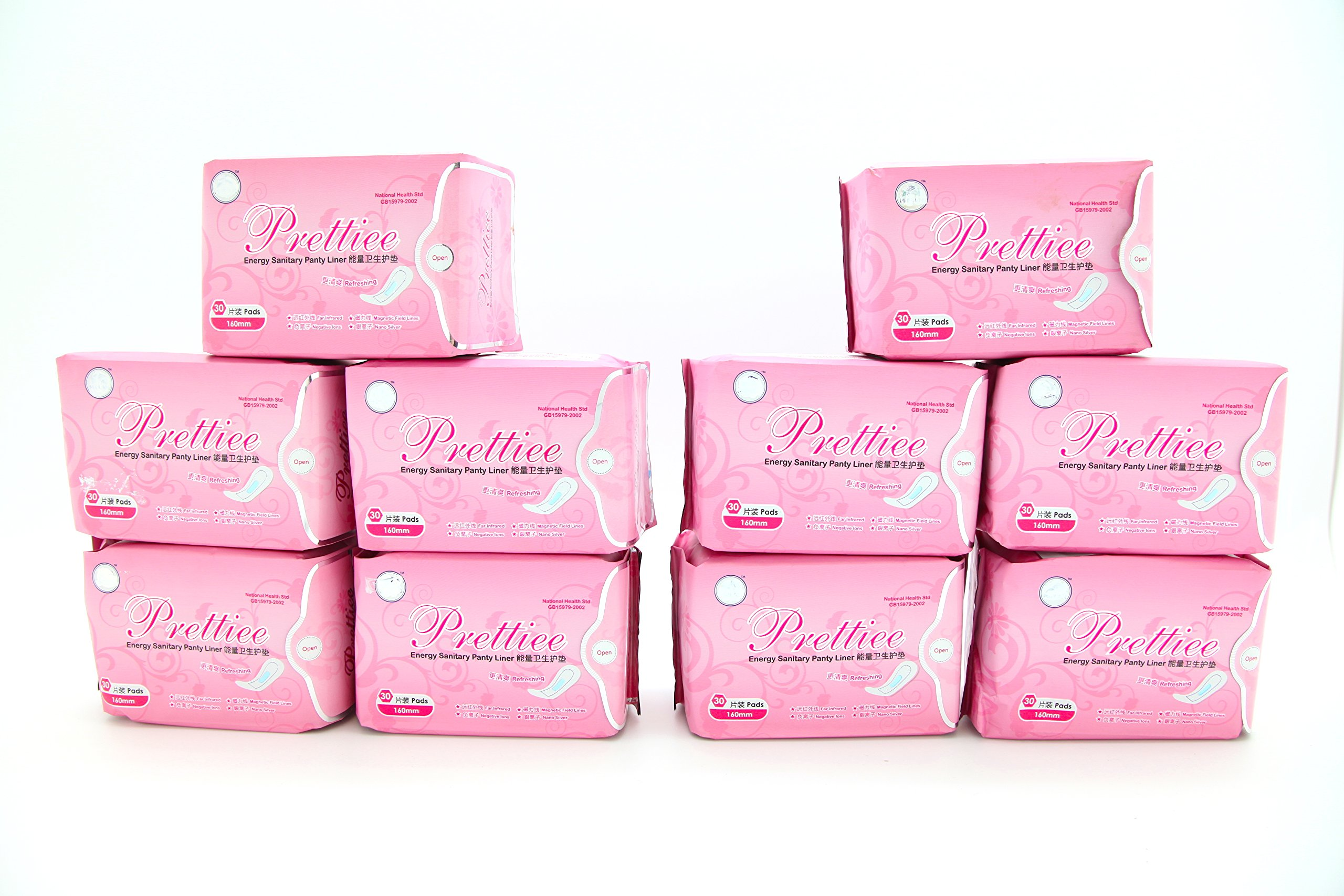 10 packs Prettiee Energy Sanitary Panty liner 160mm ( 30 Pads ) by Prettiee (Image #1)