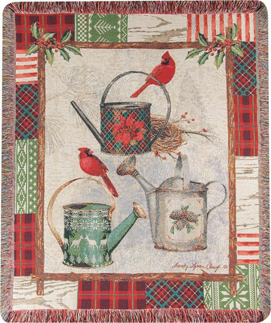 Manual Christmas Garden Patch with Cardinals /& Watering Cans Throw Blanket