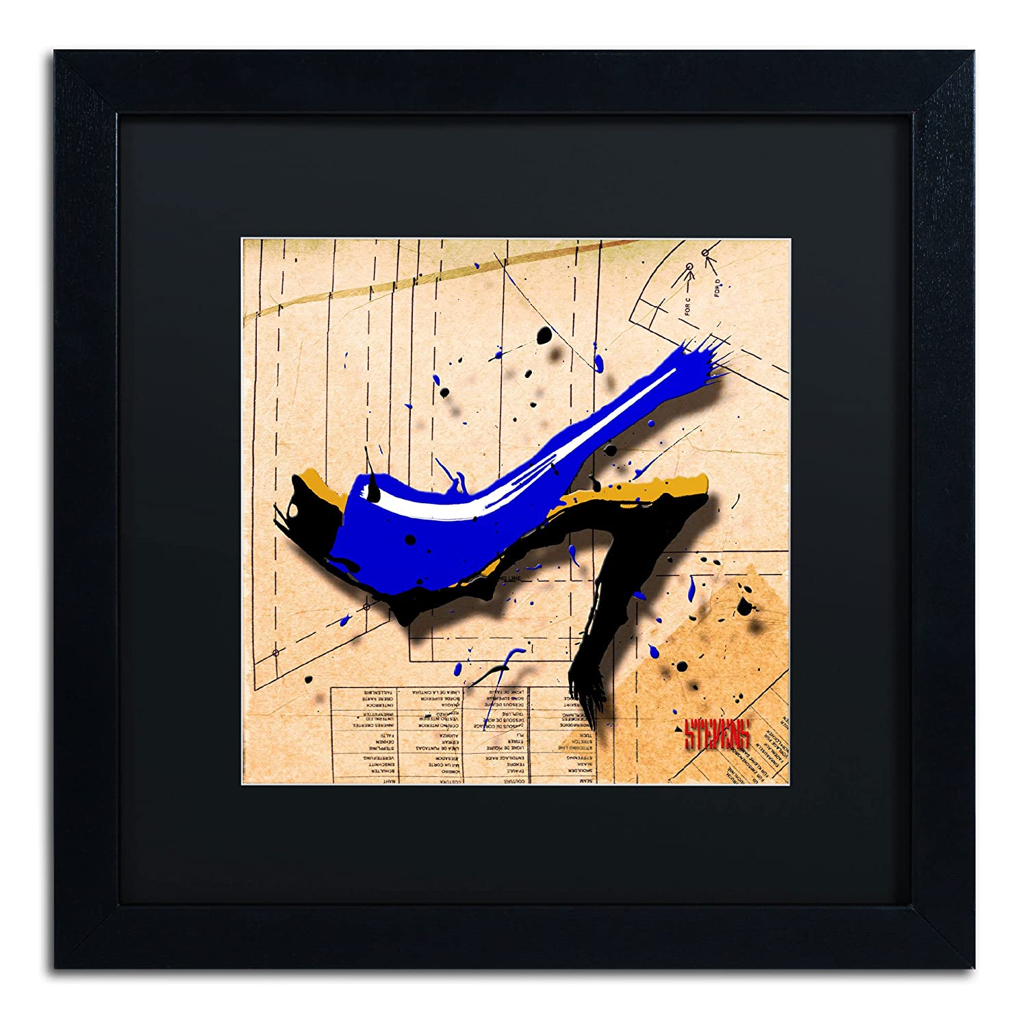 Trademark Fine Art Suede Heels Blue Artwork by Roderick Stevens, 16 by 16-Inch, Matte Black