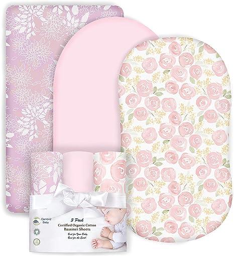 Cambria Baby - Sábanas de moisés de algodón 100% orgánico para reloj de arena halo, almohadillas ovaladas y rectangulares, en madres, rosas y rosa para niña, paquete de 3: Amazon.es: Bebé