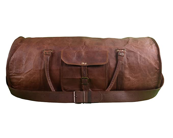aabbbd7cd8c9 Shaista Handicraft Distressed Round Leather Overnight Bag Weekend Travel Bag  Duffle Bag Holdall Cabin Bag Gym