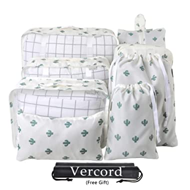 Vercord 8 Pcs Packing Cubes Pods Travel Luggage Suitcase Organizer & Shoes Laundry Bags, Cactus