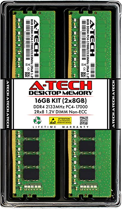 A-Tech 16GB (2x8GB) DDR4 2133MHz DIMM PC4-17000 UDIMM Non-ECC 2Rx8 1.2V CL15 288-Pin Desktop Computer RAM Memory Upgrade Kit