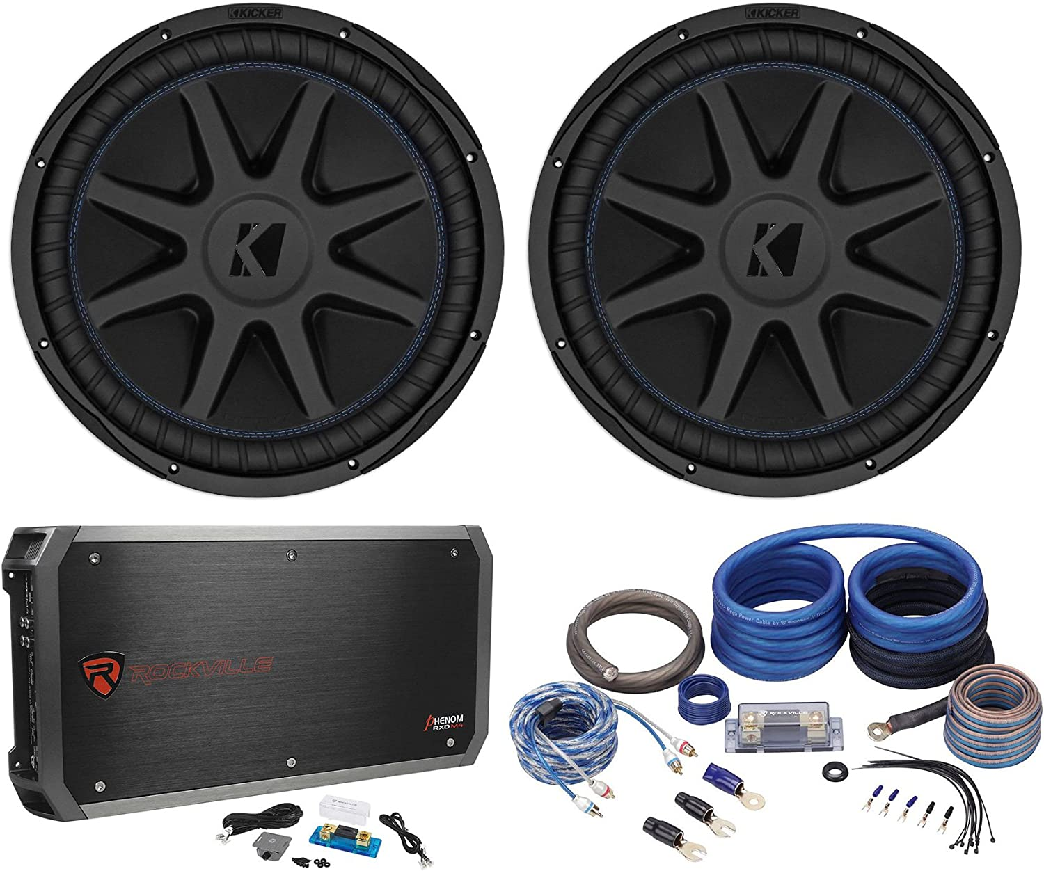 "(2) Kicker 44CVX154 Comp VX CVX 15"" 2000w RMS Car Subwoofers+Amplifier+Amp Kit 81RMN6y06HLSL1500_"
