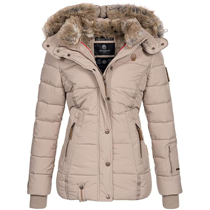 huge selection of 70f8e 58724 Marikoo Damen Winter Jacke Winterjacke Mantel warm Wintermantel gefüttert  Kunstfell Nekoo XS-XXL 5-Farben