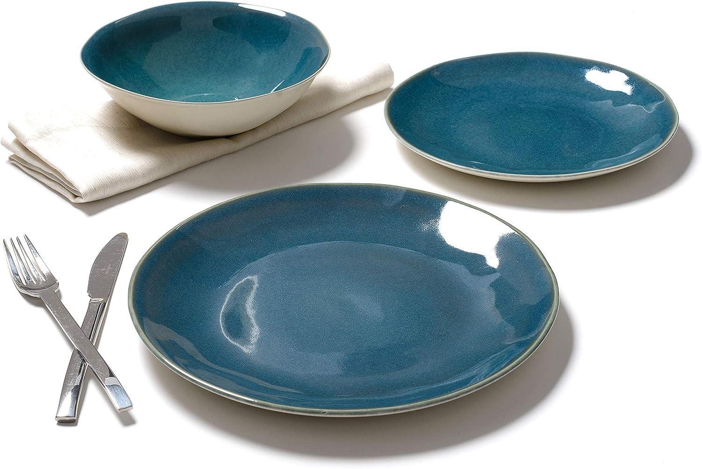 Carrefour Home - Vajilla 12 Piezas Mafra Azul: Amazon.es: Hogar