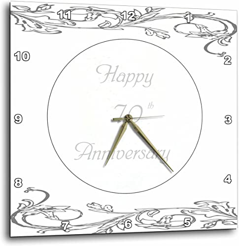3dRose Print of Elegant Silver 70th Anniversary Greeting Wall Clock, 10 by 10