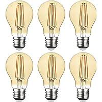 SD LUX LED Light Bulb Base Classic A Lamp E27 Amber Glass, 8 W 806 Lumen Filament Lamps, Replaces 75 W Filament Bulb…