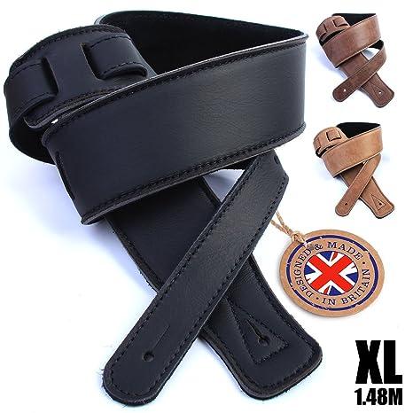Real correa de piel Para Guitarra: 130 cm de largo Ultra suave espuma cojín acolchado cinturón ...