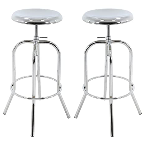 Pleasing Brage Living Chrome Color Round Seat Adjustable Metal Barstool Set Of 2 Squirreltailoven Fun Painted Chair Ideas Images Squirreltailovenorg
