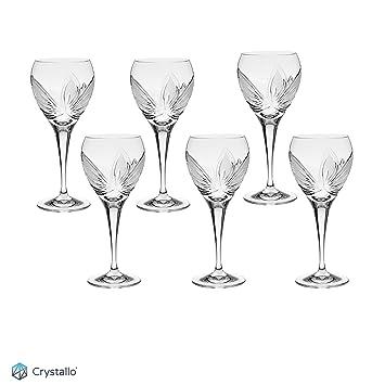 Crystallo Orchidea cortado a mano de cristal vino blanco cristal 260 ml, juego de 6
