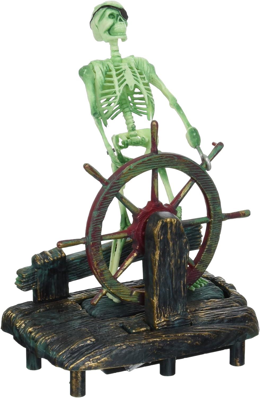 Penn-Plax Aerating Action Ornament, Skeleton at The Wheel – Moving Aquarium Decor Decoration