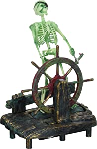 Penn-Plax Aerating Action Ornament, Skeleton at The Wheel – Moving Aquarium Decor Decoration