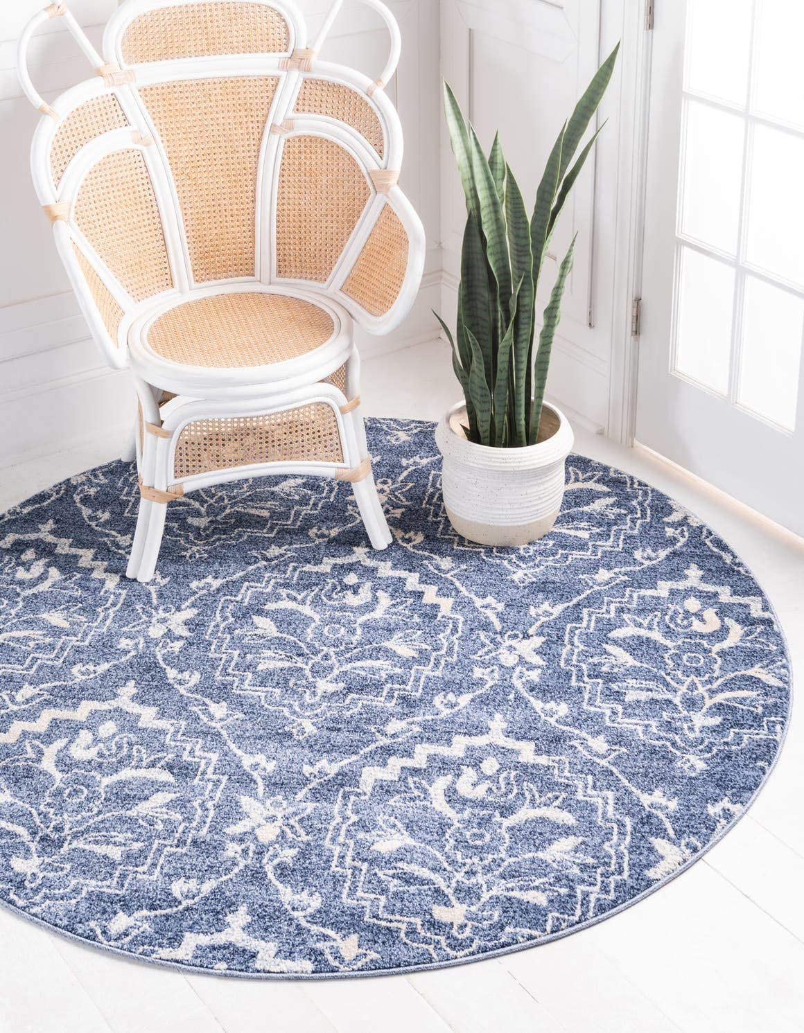 Unique Loom Damask Collection Traditional Floral Blue Round Rug 8 0 x 8 0