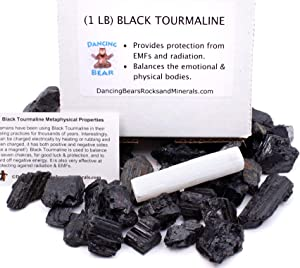 Dancing Bear Black Tourmaline Crystals Bulk (1 LB), Includes: (1) Selenite Stick & Information Cards, Rough Raw Natural Stones for Good Vibes, Reiki Energy, EMF & Radiation Protection, Made in USA