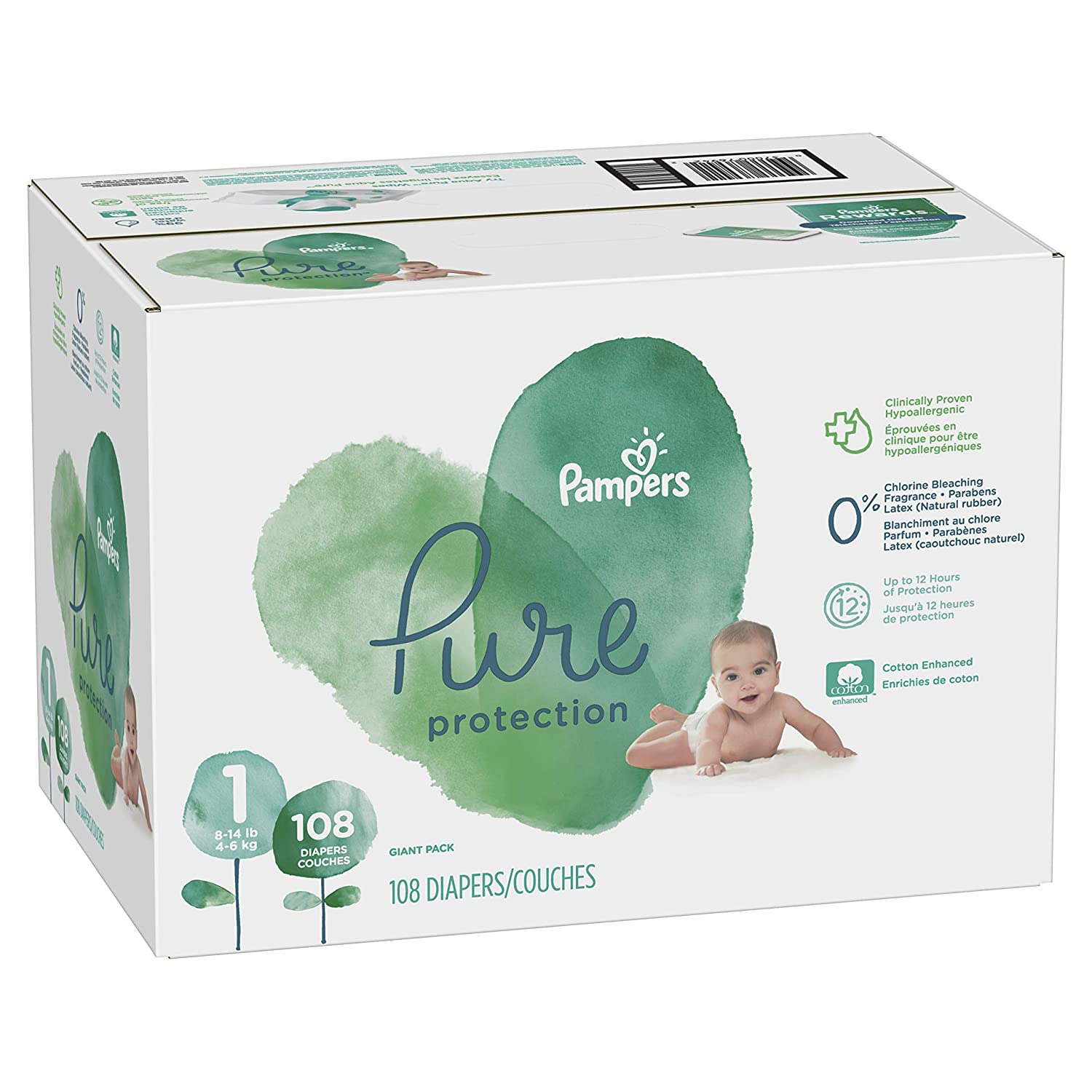 Pampers Pure Disposable Baby Diapers, Hypoallergenic and Fragrance Free Protection, Size 2, 104 Count, Giant