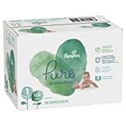 Pampers Pure Disposable Baby Diapers, Hypoallergenic and Fragrance Free Protection, Size 1, 108 Count, Giant