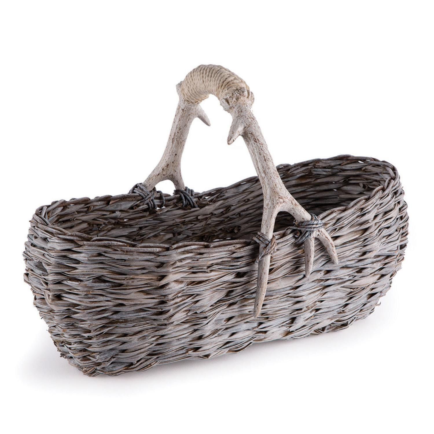 CC Home Furnishings Weathered Gray and Beige Faux Antler and Rope Wrapped Handle Hand Woven Gathering Basket