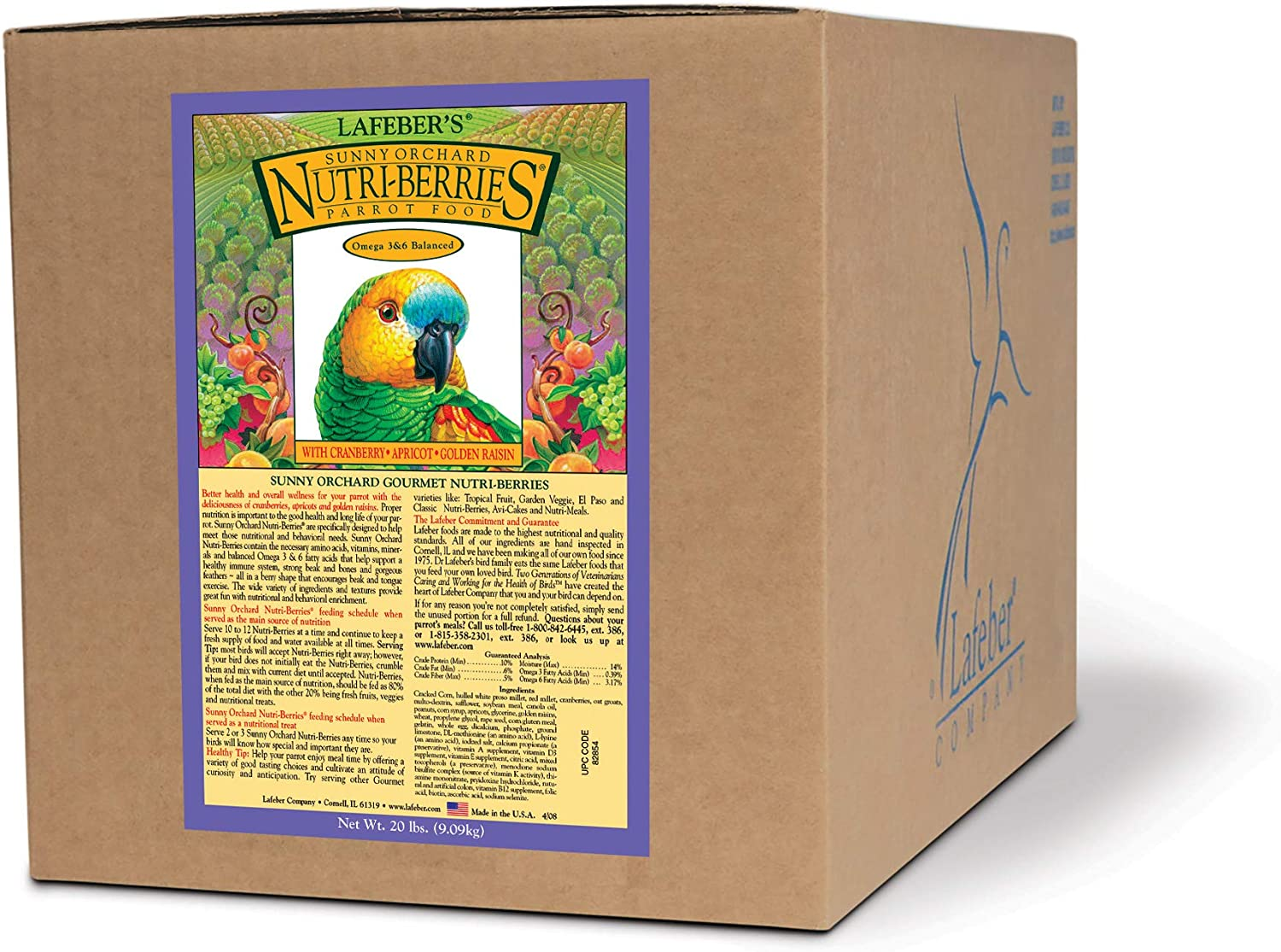 LAFEBER'S Sunny Orchard Nutri-Berries Pet Bird Food, Made with Non-GMO and Human-Grade Ingredients, for Parrots 20 lbs