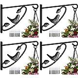 Amagabeli 4 Pack Plants Bracket Hanger 12in Hanging Planter Hooks Baskets Flower Pot Bird Feeder Wind Chimes for Outdoor Indo