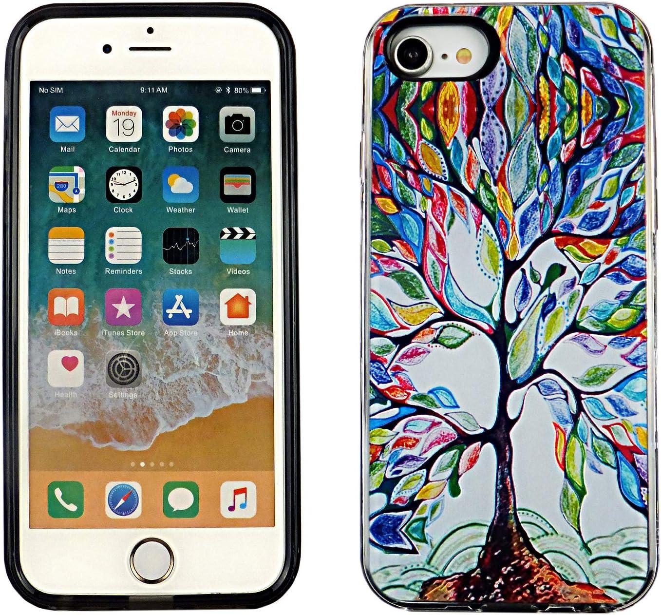 iPhone SE 2020 Dual Slim Case CASEVEREST 3D Print Cover iPhone SE Colorful Tree Family Education iPhone 6S 7 8 PC+PTU