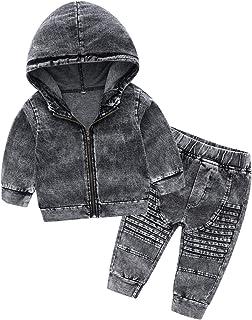KUKEONON Boys Kids Knit Denim Outfit 2pcs Hooded Zip-up Coat Jacket+Pants Casual Set