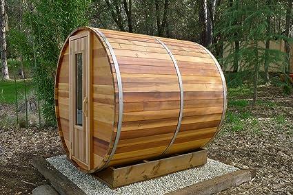 Barrel Sauna Kit   Outdoor Barrel Sauna Room 7u0027 X 7u0027   Electric Heater
