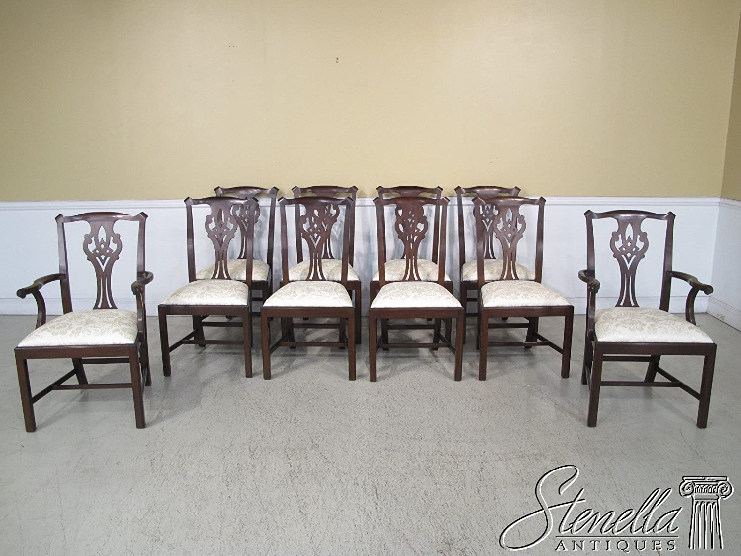 Amazon.com   Set Of 10 Henkel Harris Model #102 Chippendale Mahogany Dining  Chairs ~ NEW   Chairs