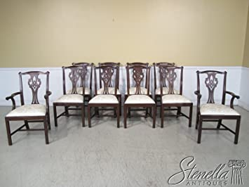 Gentil Set Of 10 Henkel Harris Model #102 Chippendale Mahogany Dining Chairs ~ NEW