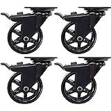 Headbourne 8276E Designer Casters 3 inch Polyurethane Black Mag Designer Caster