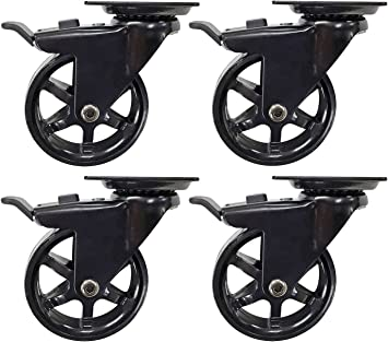 Furniture casters Caster x4 Household Trolley Baby Stroller Replacement Caster Small Silent Rotating Caster Four Sizes with Brake