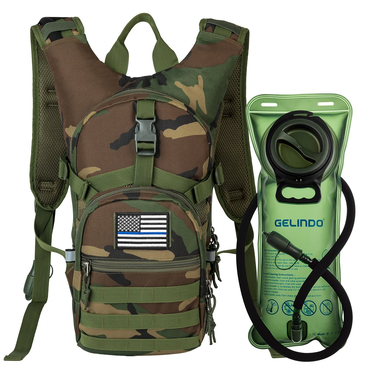 Gelindo Military Tactical Hydrationバックパックwith 2l水膀胱ライト重量MOLLE Tactical Assault Pack forハイキングサイクリングランニングウォーキング登山アウトドア旅行(cp-green)   B07CWYKG9D