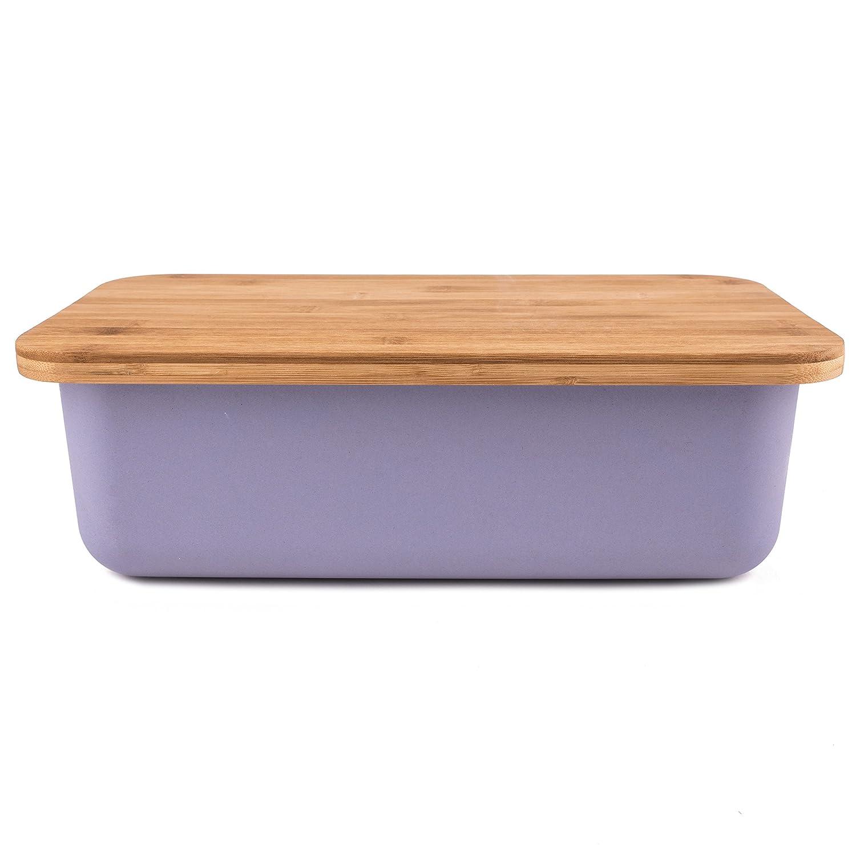 Bamboo Bread Box with Bread Board Cutting Board Lid Truffle Toast Home