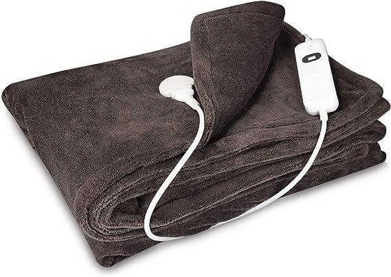 Navaris Manta eléctrica con termostato - Colcha XXL lavable 180 x 130 CM - Manta térmica con regulador de temperatura 3 niveles - Marrón oscuro: Amazon.es: Salud y cuidado personal
