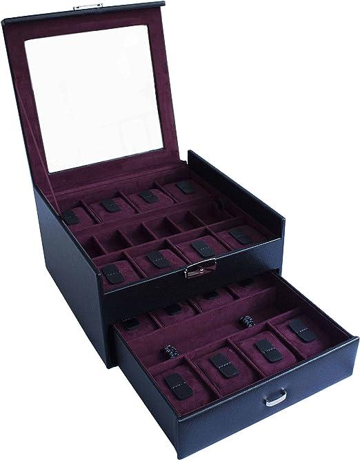 CORDAYS - Estuche Relojero para 16 Relojes con Vitrina de Cristal ...