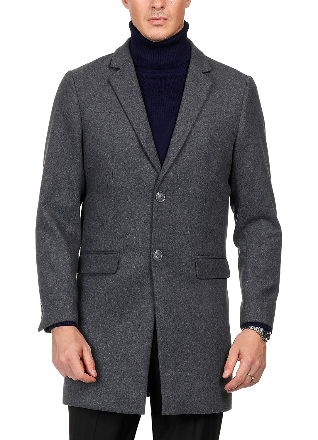 PAUL JONES Mens Winter Single Breasted Notched Collar Wool Blend Overcoat Jacket
