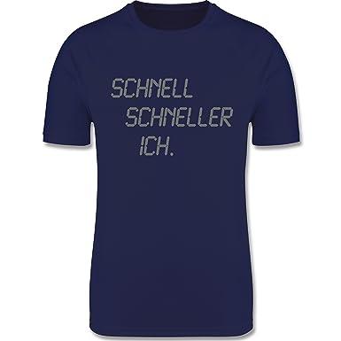 Shirtracer Laufsport - Schnell - Schneller - Ich - S - Dunkelblau - F350 -  Herren