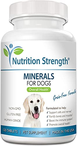Nutrition Strength Minerals for Dogs, Support Cells Nerves, Fortify Bones Muscles, Promote Overall Health with Calcium, Phosphorus, Magnesium, Potassium, Selenium, Iron, Zinc, 120 Chewable Tablets