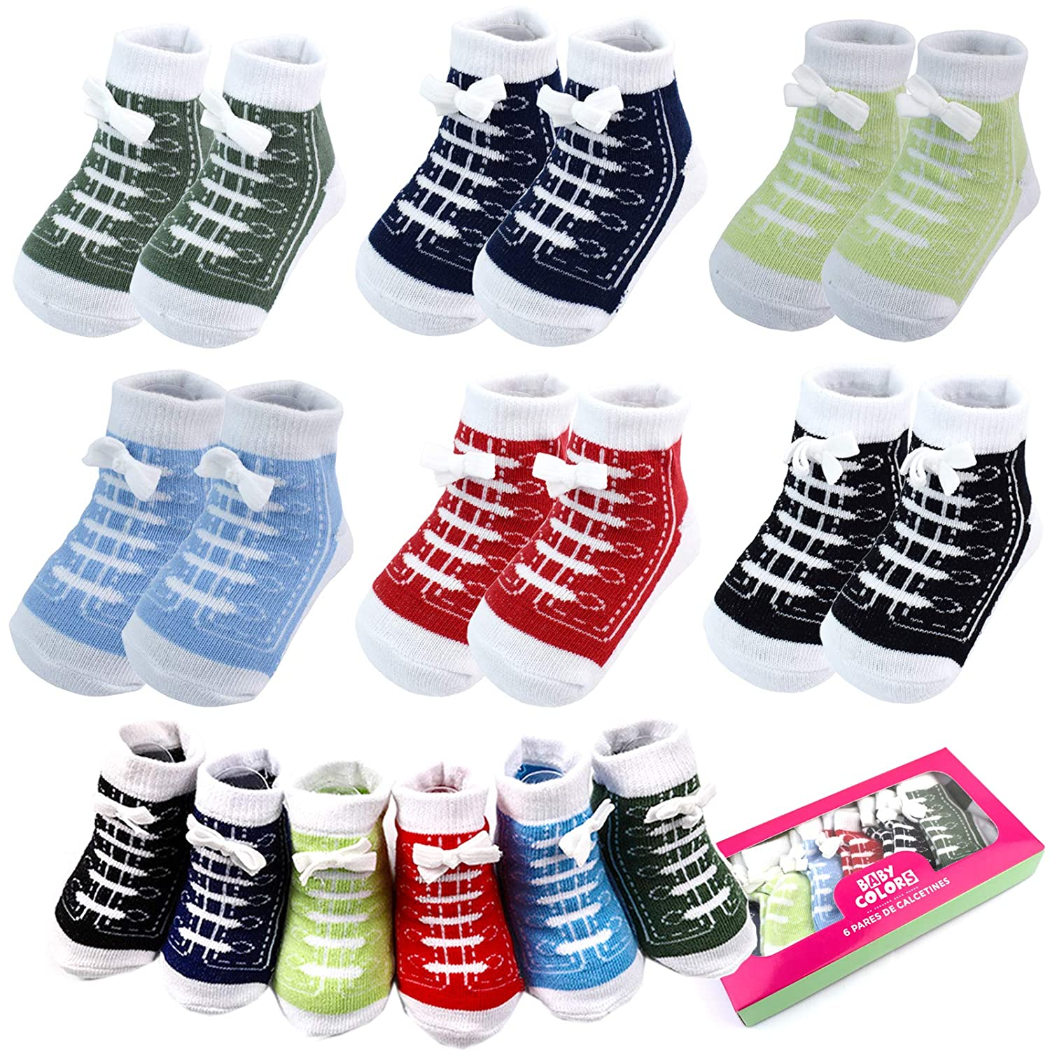 6 Pairs 0-6 month Baby Sneaker Newborn Ankle Sock Toddler Crew Walkers Bootie Infant Slippers Socks