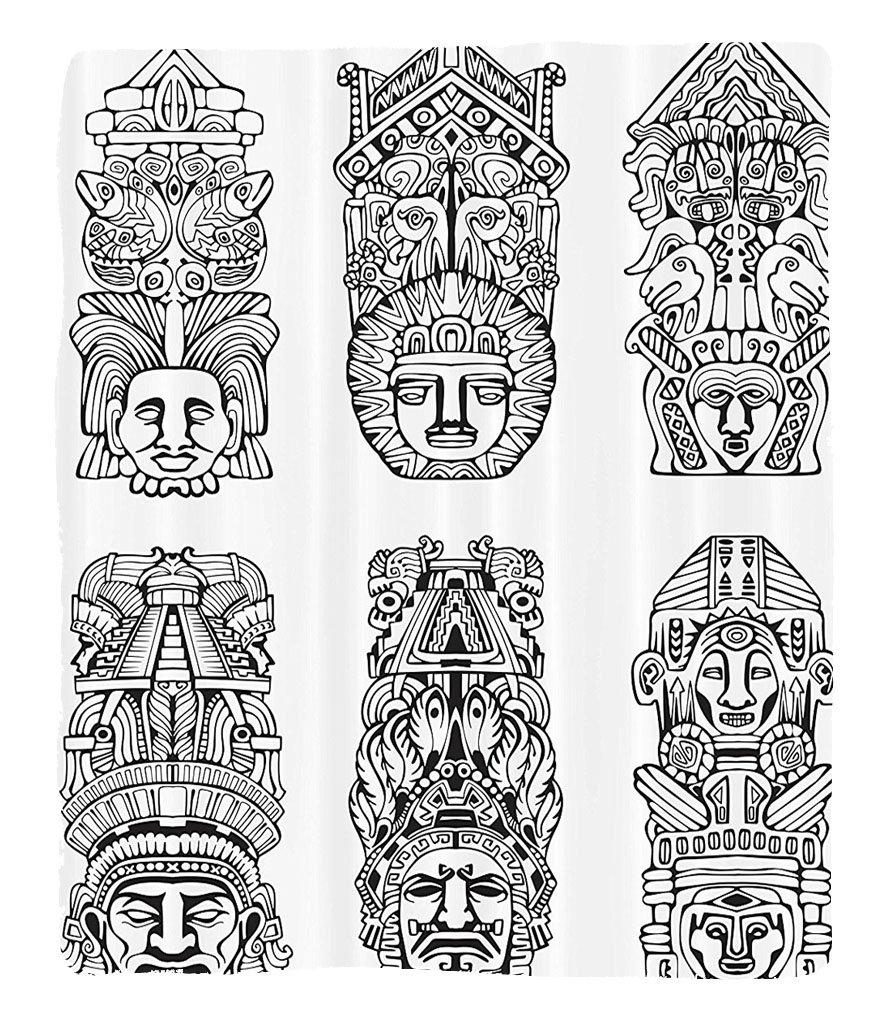 Chaoran 1 Fleece Blanket on Amazon Super Silky Soft All Season Super Plush Mesoamerican Decor Collection Abstract Mesoamerican Religion Aztec Totem Poles Ceremonial Old Tradition Myth Fabric et