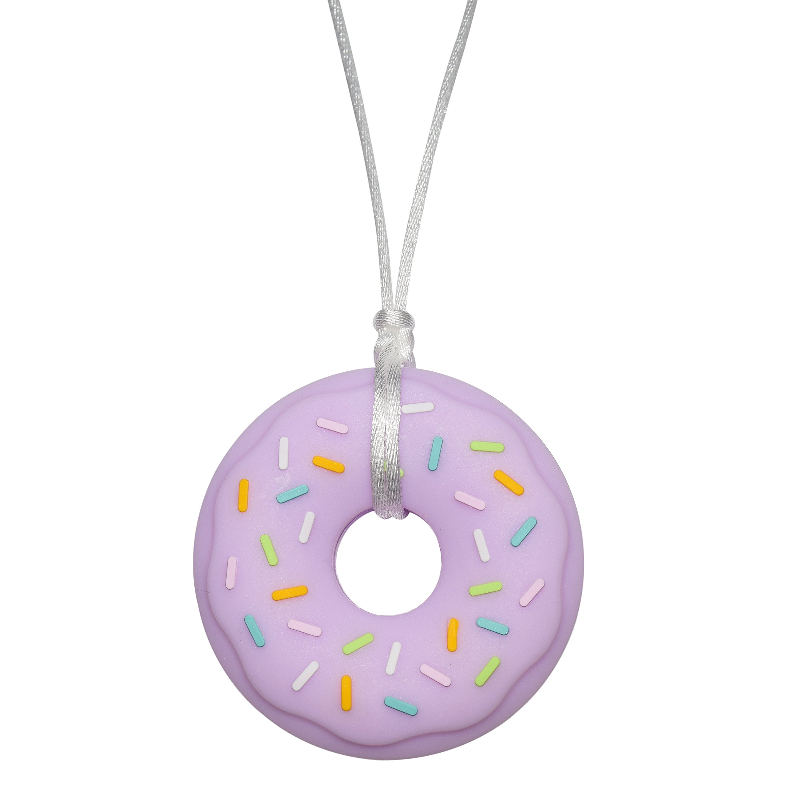 Sensory Oral Motor Aide Chewelry Necklace - Munchables Donut Chewy (Purple on White Cord)
