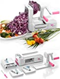 Vegetable Spiralizer - Tri-Blade Spiral Slicer - Zucchini Spaghetti Noodle Pasta Maker - Includes Cleaning Brush and Spiralizer Recipes E Book - Smaller, More Compact