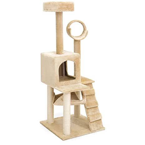 best choice products 52in faux fur cat tree tower furniture w  condo hammock amazon     best choice products 52in faux fur cat tree tower      rh   amazon