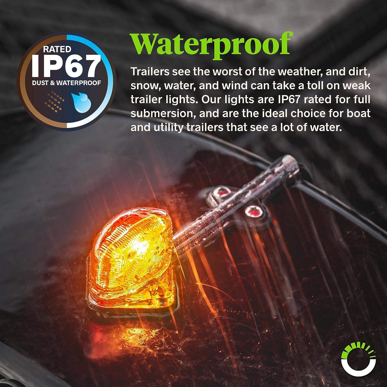 2pc 7 Amber Trailer Clearance Marker Lights for Boat Utility Trailer Hauler Car IP67 Waterproof SAE P2 Red LED Trailer Fender Light Set DOT Approved