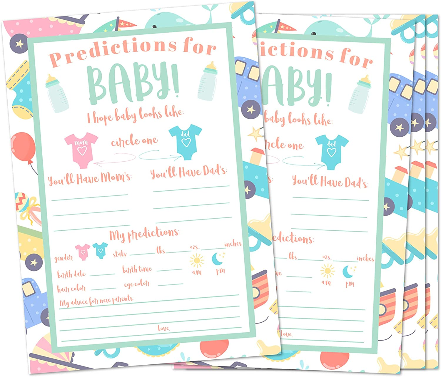 Baby Shower Games Baby Prediction Cards for Shower Baby Shower Advice Cards Gender Neutral Set of 25