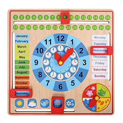 Pidoko Kids All About Today Calendar Board - My First Clock - Preschool Educational & Learning Wooden Toy | Busy Board | Gifts for Toddlers Boys and Girls 3 Year Olds +: Toys & Games