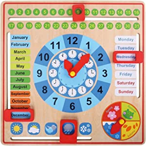 Pidoko Kids All About Today Calendar Board - My First Clock - Preschool Educational & Learning Wooden Toy   Busy Board   Gifts for Toddlers Boys and Girls 3 Year Olds +