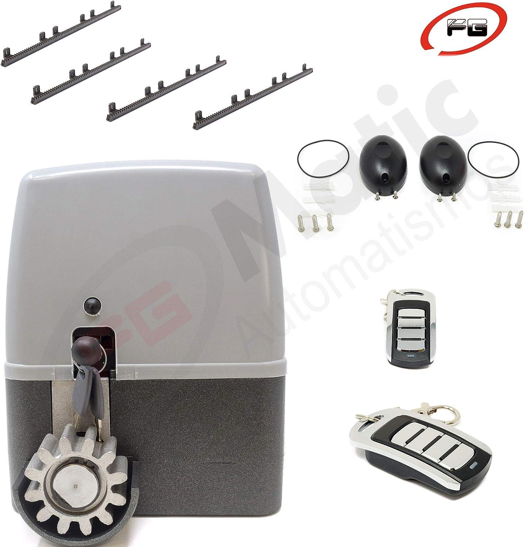 Kit para automatizar tu puerta de garaje corredera de modelo VDS GEKO 400 Kg, incluye motor, 2 mandos de código evolutivo, placa de control, 4 metros de cremallera, fotocelula y manuales.