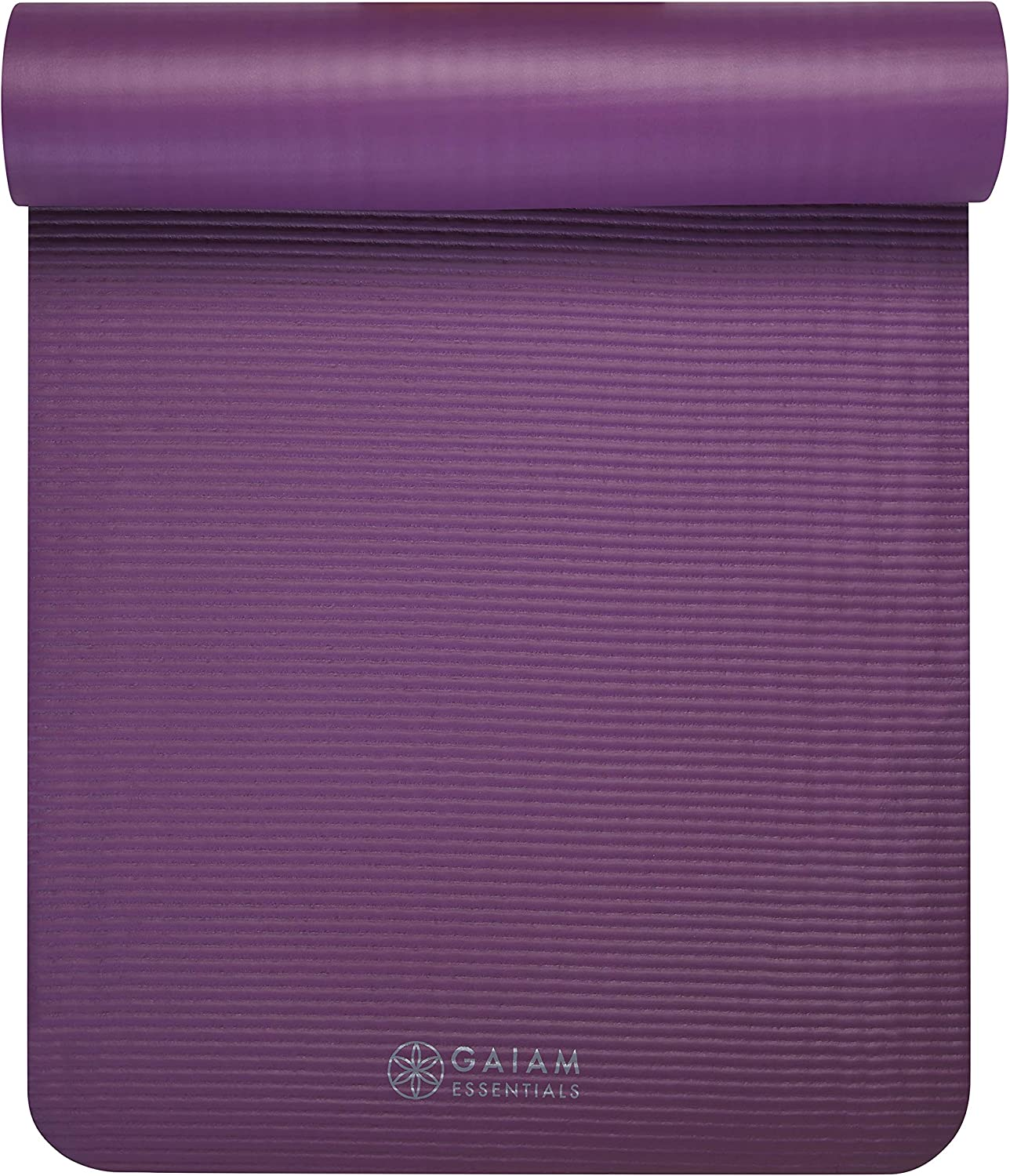 Gaiam Essentials Thick Yoga Mat Fitness /& Exercise Mat with Easy-Cinch Yoga Mat Carrier Strap 72 L x 24 W x 2//5 Inch Thick