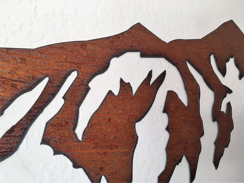 Rustic Mountain Metal Wall Art Handmade 4 Ft